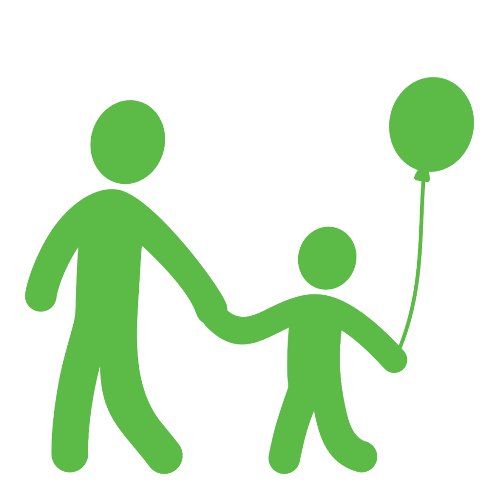 Cartoon of parent and child with balloon
